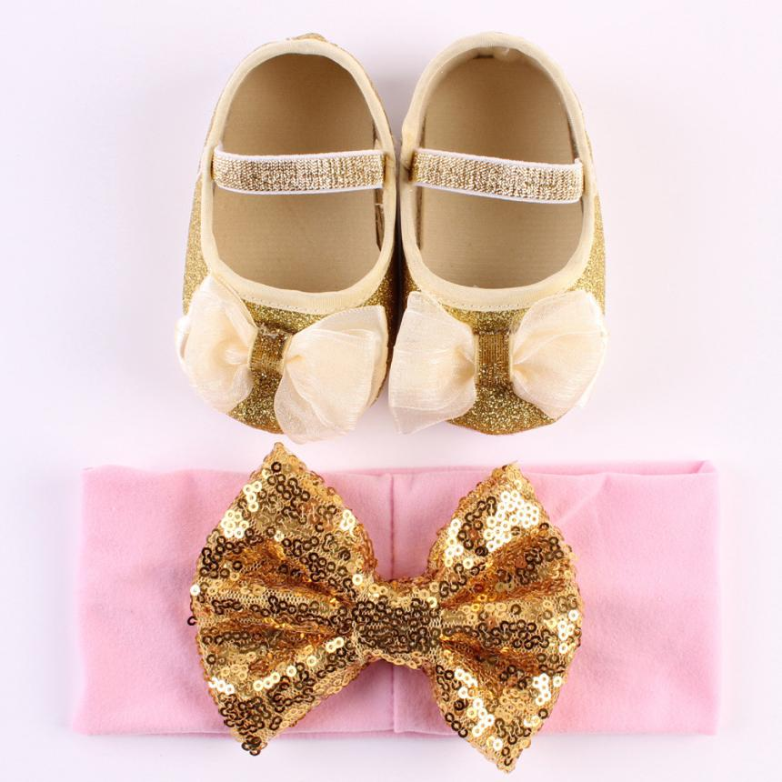 Anti-slip Hand Soft Toddler Sequins baby shoes girl first walkers Crib Shoes Sweet newborn Shoes+1pc Hairband Dropshipping #20