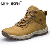 Brand Men Boots Big Size 39 46 Autumn Winter Mens Leather Fashion Sneakers Lace Up Outdoor Mountain Men Shoes Waterproof