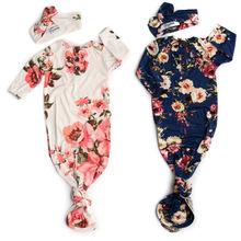 Новинка; платье с цветочным узором для малышей для пеленания девочек Обёрточная бумага одеяло для сна мешок+ оголовье, Набор Размер 0-12 мес., комплект