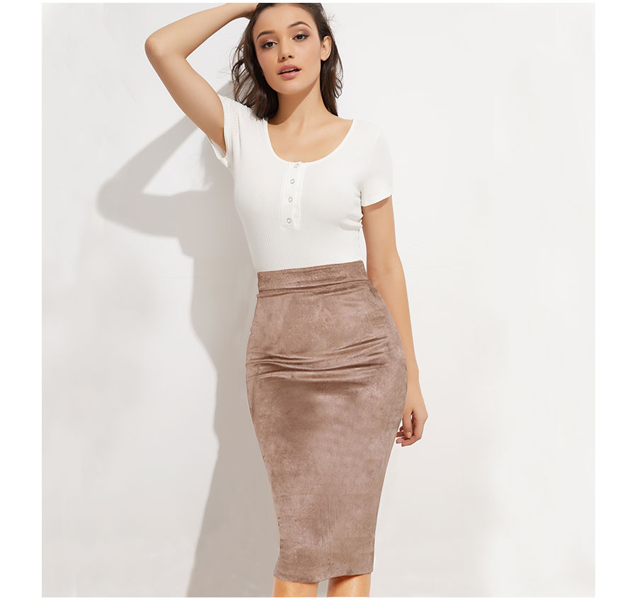 Suede High Waist Two-way Zipper Through Pencil Midi Skirt