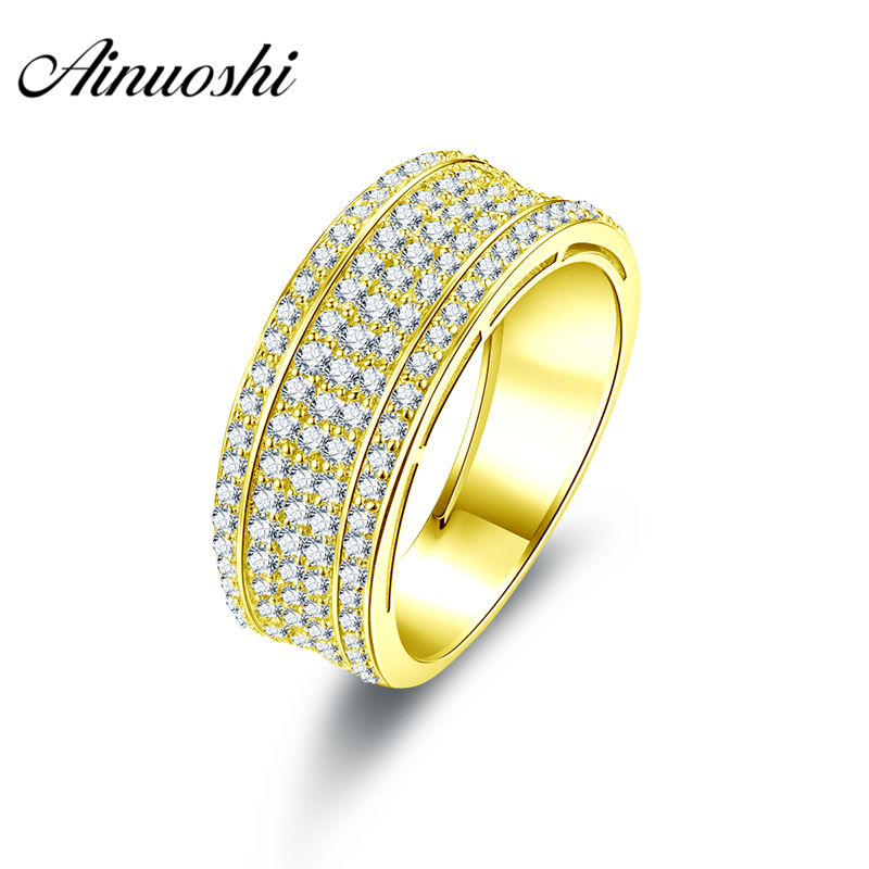 AINUOSHI Luxurious Men Band 10K Solid Yellow Gold Ring 5 Rows Drill Cluster Ring Wedding Engagement Gold Jewelry 4.8g Men Ring цена и фото