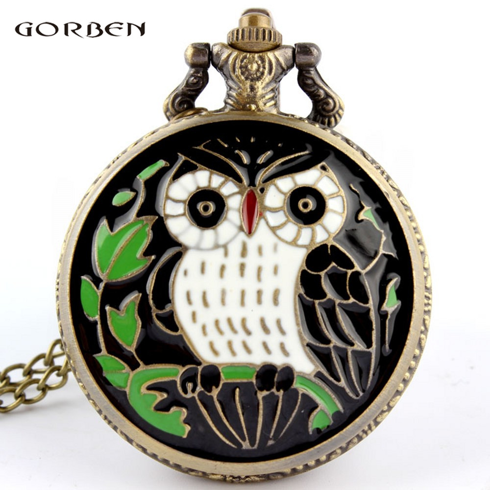 2017 New Black Night Owl Delicate Quartz Pocket Watch Fashion Design Green Leaves Pocket Watch With Chain For Men And Women