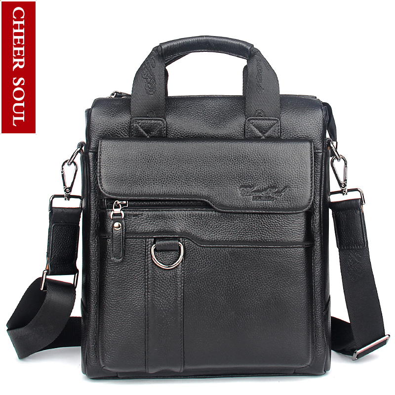 2016 New Hot Genuine Leather Men Bag Cowhide Shoulder Fashion Men Messenger Bags Crossbody Bags Handbags Black Men's Travel Bag 2016 new fashion men s messenger bags 100% genuine leather shoulder bags famous brand first layer cowhide crossbody bags