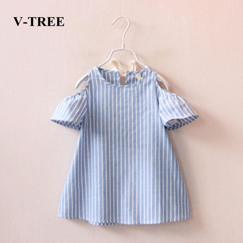 V-TREE Baby Girls Dress Summer Dresses For Girls Linen Princess Dress Children Costume Baby Clothing