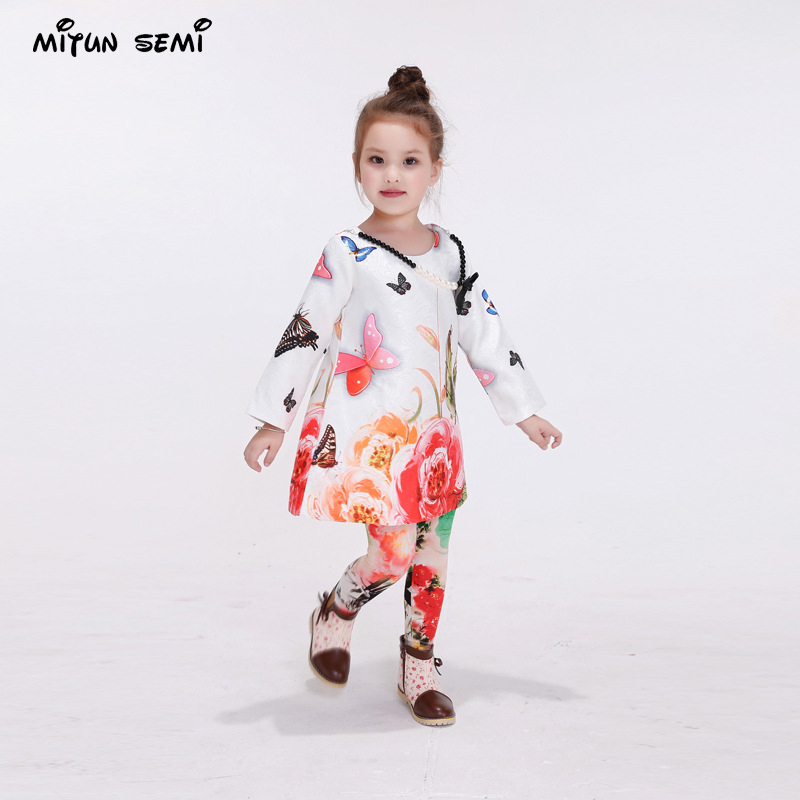 Mitun2016 new winter printed euramerican fashion long-sleeved dress baby princess skirt of the girls