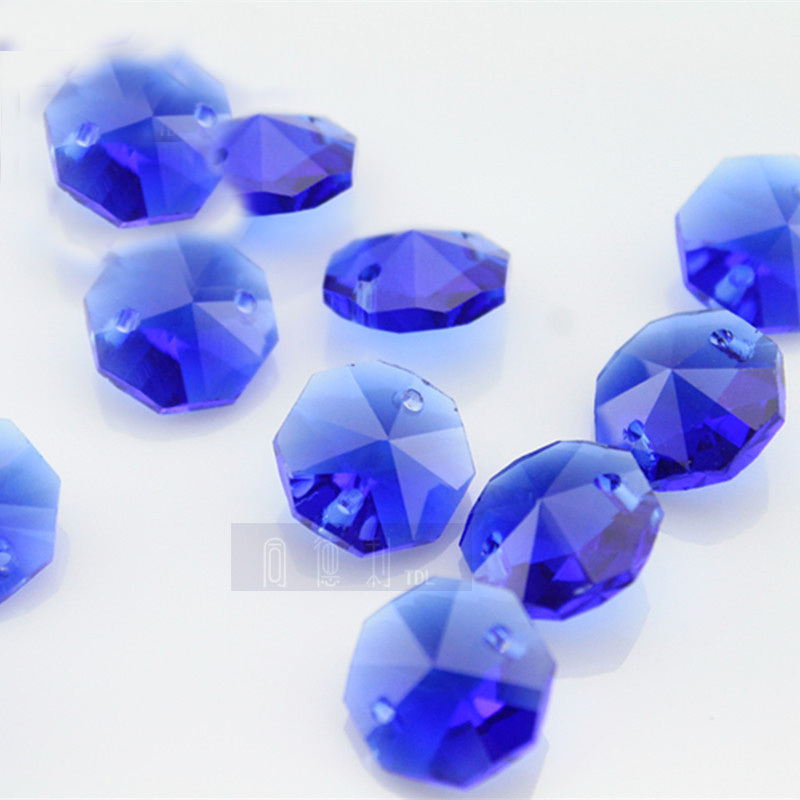 500pcs/lot sapphire crystal glass octagon beads in 2 hole for ...