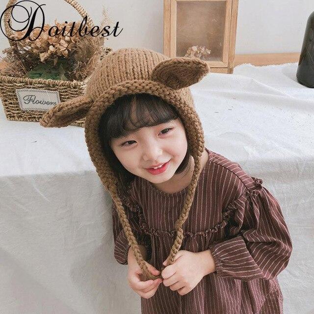 Doitbest 3 a 9 Y niño niña gorros 2018 conejo de dibujos animados dos  orejas lana 1f438b55e34