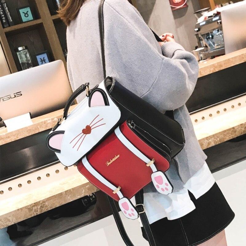 Cartoon cat mini sac à dos femmes en cuir sacs à dos femme petit cartable voyage sacs d'école pour les filles sac à bandoulière dos mochila