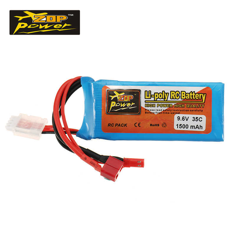 Rechargeable Lipo Battery ZOP Power 9.6V 1500mah 35C Lipo Battery JST/T Plug Connection For RC Helicopter Models Accessories