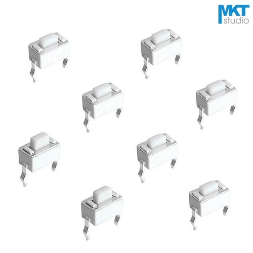 цена на 100Pcs Sample 3*6*4.3/4.5/5/8mm White Through Hole 2 Pins Snap-In Micro Push Button Tactile Tact Momentary Switch