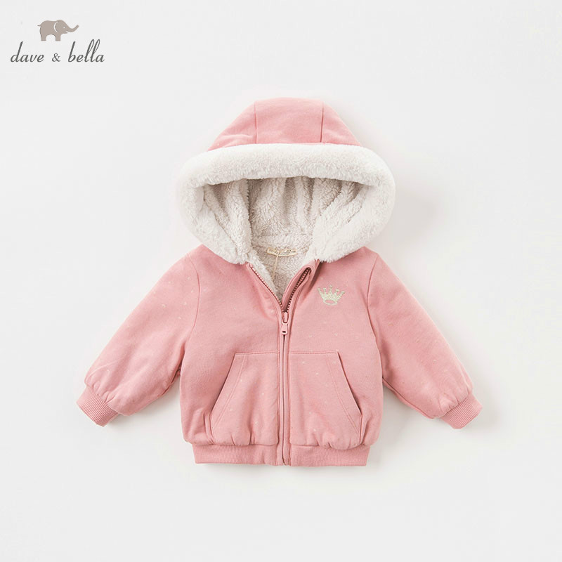 DBM8262-T  dave bella baby girl cotton jacket children  outerwear fashion pink coat