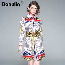 Banulin Autumn Party Casual Long Sleeve Shirt Print Runway Designer 2018 Fashion WomenS Office Girls Flower OL Dress