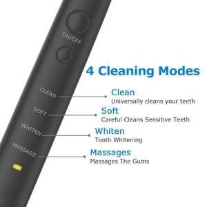 Image 2 - Electric Toothbrush USB Inductive Charging Sonic Toothbrush Adults Electric Sonic toothbrush Black 8 Brush Heads & Travel Case