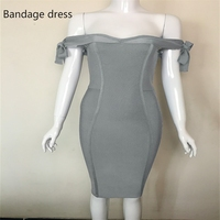 2017 Sexy Women Dress Wholesale Slate Grey Off The Shoulder Summer Bandage Dress Sexybackless Prom Party