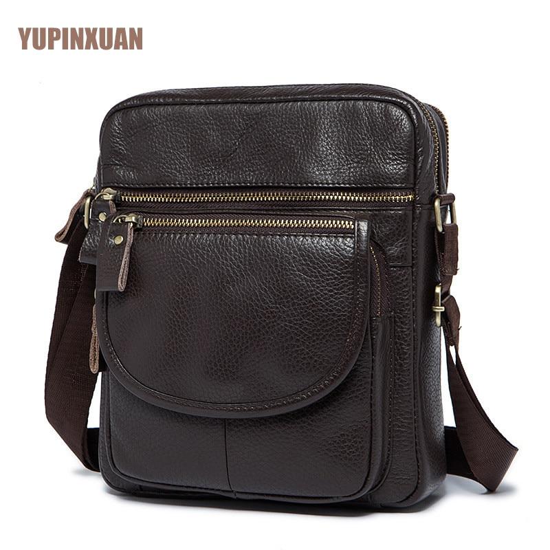 YUPINXUAN Mens Genuine Leather Messenger Bag Male Classic Retro Design Cow Leather Shoulder Bag Small Travel Bags Real Leather 247 classic leather