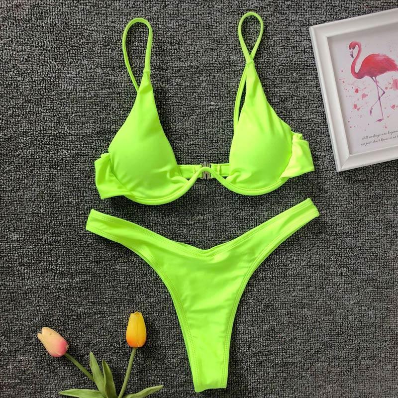 Неоново-зеленый треугольный бикини на косточках 2020 женский купальник из двух частей треугольный бикини набор купальный костюм K439