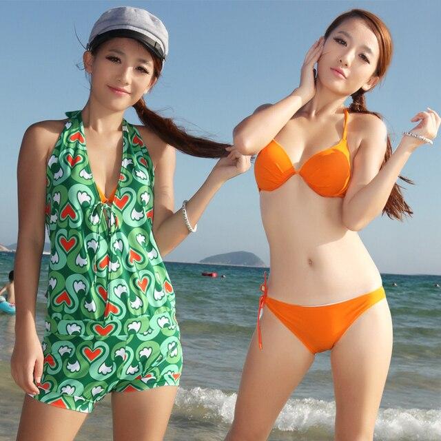 Women's fashion one-piece dress hot spring swimwear big small push up swimwear female swimsuits piece set