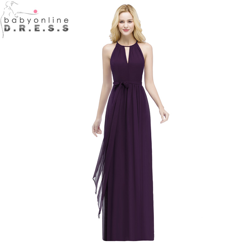Babyonlinedress Purple Halter Neck Bow Tie Bridesmaid Dresses  Cheap Chiffon Wedding Party Dresses Robe Demoiselle D'honneur