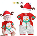 Baby Christmas clothes boys girls snowman romper+ elk hat infant toddler christmas outfit gift sleepwear