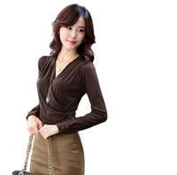 Moha Autumn V Neck Basic Shirt T Shirt Female Long Sleeve Loose Slim Female Women S