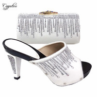 Amazing white shoes and bag set with stones fashion sandals with purse for evening party T2083 3 ,heel height 12cm