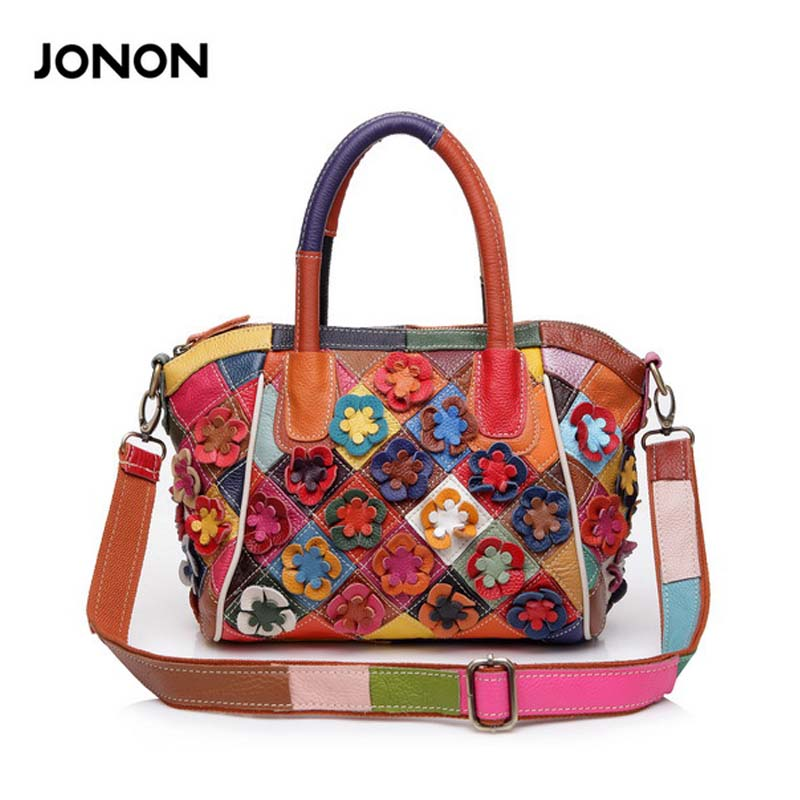 New 2017 100% Genuine Leather Patchwork Bag Cowhide Shell Bag Women Shoulder Bag Colorful Flower Crossbody Bags Handbags qiaobao 2017 new 100% cowhide leather handbags women patchwork ladies hand bags girls soft genuine leather shoulder bag ladybag