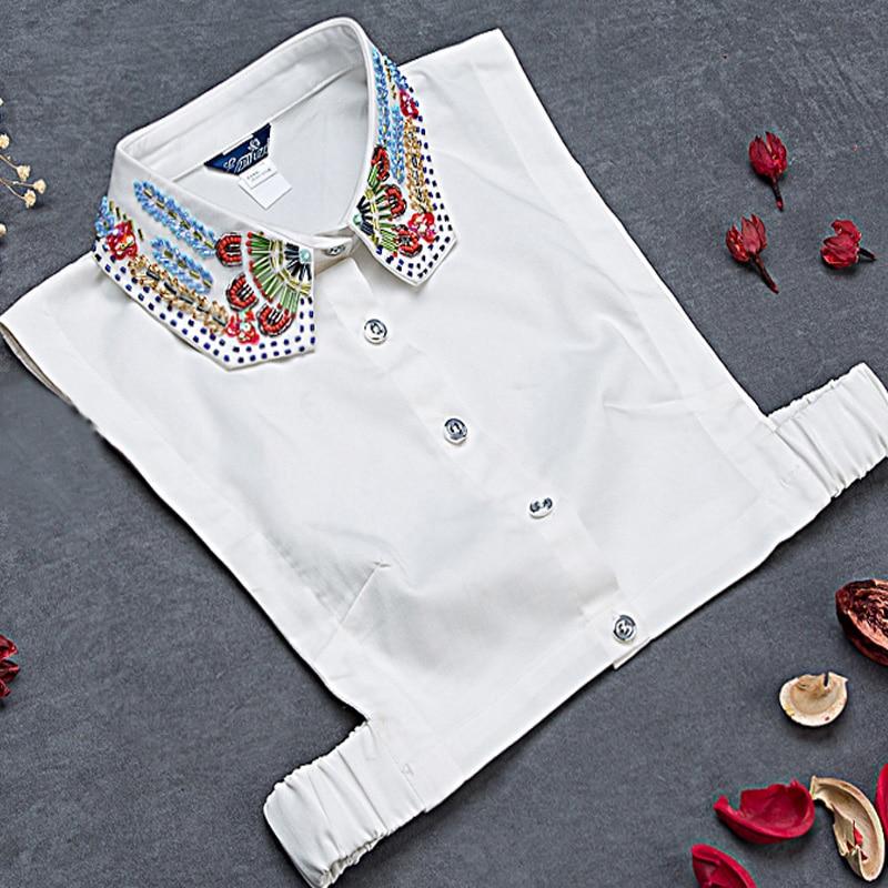 Bluzka sweter dekoracyjny Panie Ręcznie robione perły Koraliki Wiertło złożone eleganckie kolorowe odpinany Fałszywy fałszywy biały kołnierzyk