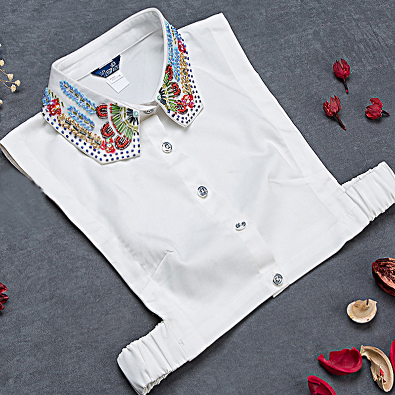 Blouse Sweater Decorative  Ladies Handmade Pearls Bead Drill Beads Complex Elegant Colored Detachable Fake False White Collar