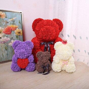 23*16cm Rose Bear PE Flower For Wedding Valentine Day Gift Bear Shape Artificial Flowers For Home Decoration Girlfriend Gift  rose