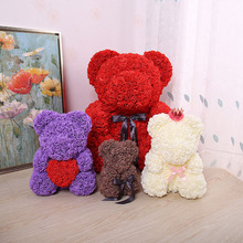23*16cm Rose Bear PE Flower For Wedding Valentine Day Gift Bear Shape Artificial Flowers For Home Decoration Girlfriend Gift