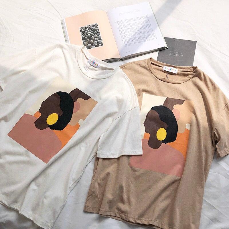 Harajuku T Shirt Women Vintage Abstract Painting Thin Round Neck Tee Shirt Tops Vintage Loose Casual Streetwear Tee Shirt Femme