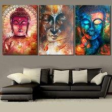 3 Pieces Watercolor Buddha Portrait Wall Art Picture Home Decorations Colorful Zen Artwork Canvas Painting Spa Room Decor