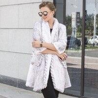 Новый норки шерстяные вязаные пальто с мехом леди реального норки пальто с мехом в длинные зимние меховые был тонкий утолщение шифрования