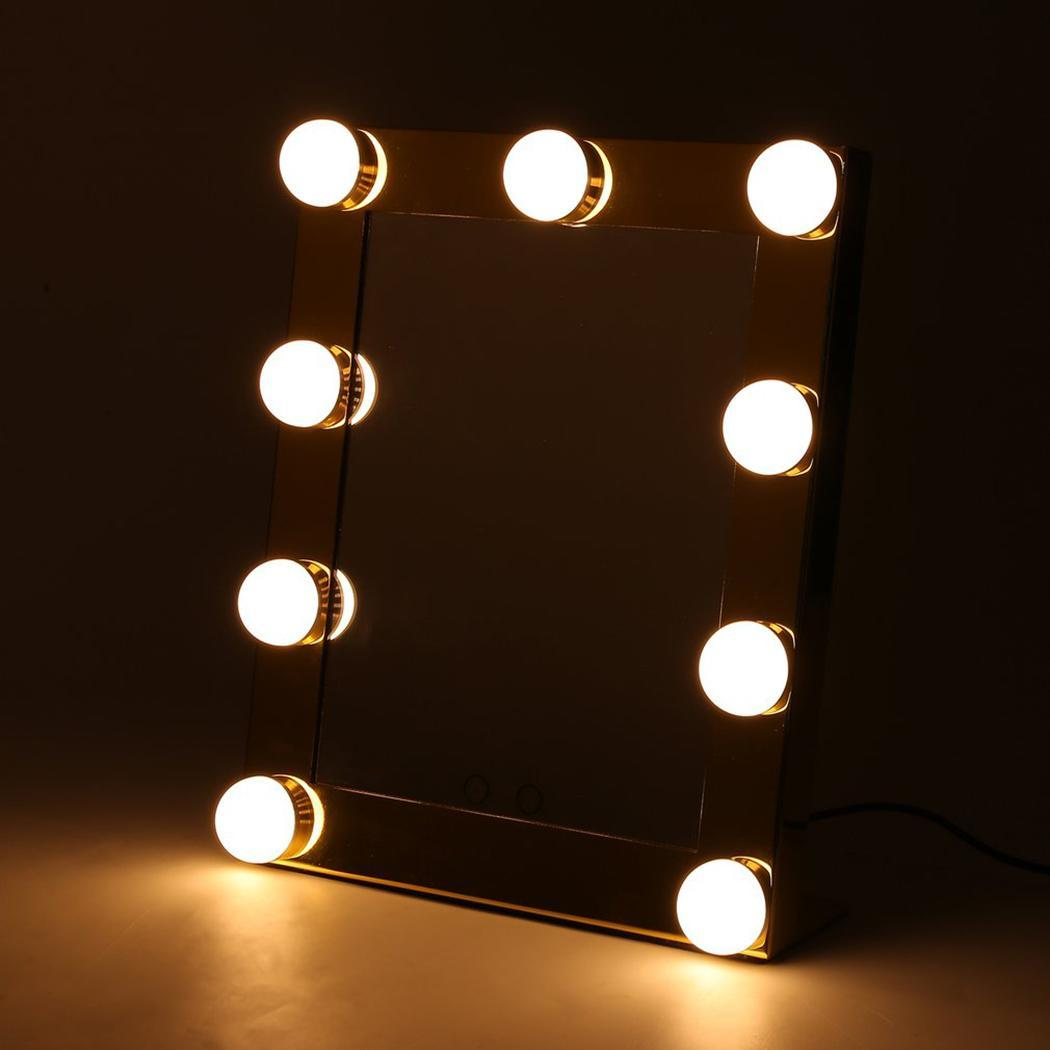 Portable Touch Screen 9 LEDs Bulb Lighted Tabletop Beauty Gold Makeup Bath US Plug MirrorPortable Touch Screen 9 LEDs Bulb Lighted Tabletop Beauty Gold Makeup Bath US Plug Mirror