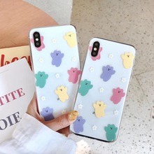 INS Korea super fire simple candy bear phone case For iphone Xs MAX XR X 6 6s 7 8 plus summer flower daisy soft TPU back Cover aertemisi ins korea super fire candy color bear phone case for iphone xs max xr x 6 6s 7 8 plus cute wave point clear soft tpu
