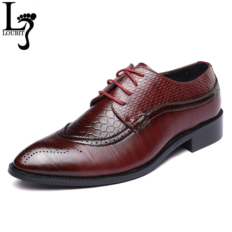 Men Business Shoes 2018 Newest Formal Office Wedding Shoes for Men Crocodile Embossed PU Leather Dress Shoes Plus Size 39-48