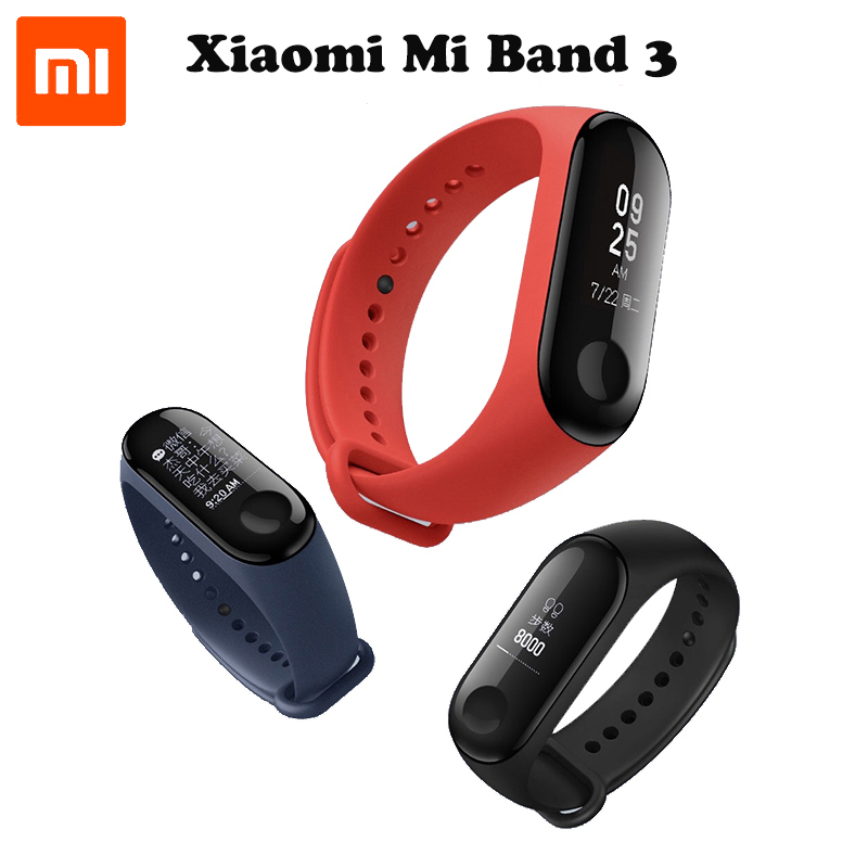 in Stock 2018 New Original Xiaomi Mi Band 3 Smart Bracelet - Black ,0.78 inch OLED Instant Message Caller ID Weather Forecate in stock original xiaomi mi band 3 0 78 inch oled instant message caller id weather forecate vibration clock mi band 2 upgrad