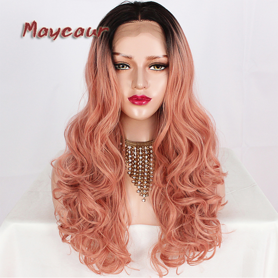 Black Pink Ombre Color Glueless Lace Wigs Synthetic