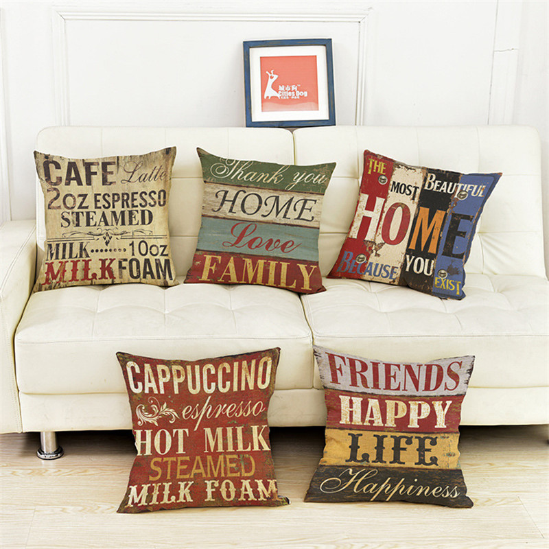 Vintage Style Decorative Throw Pillow Cover Case Coffee Shop Letter Retro Seat Waist Cushion Cover Party