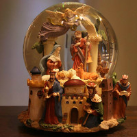 Nativity Birth Crystal Ball Music Box Manger Christ Church Send Girl Resurrection Christmas Birthday Gift LM01101628