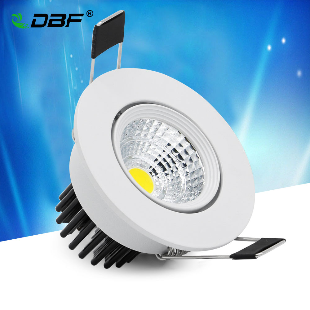 [DBF]Angle Adjustable Non Dimmable 5W LED Recessed COB Downlight White Housing LED Ceiling Spot Lamp AC110V/220V Indoor Lighting цена