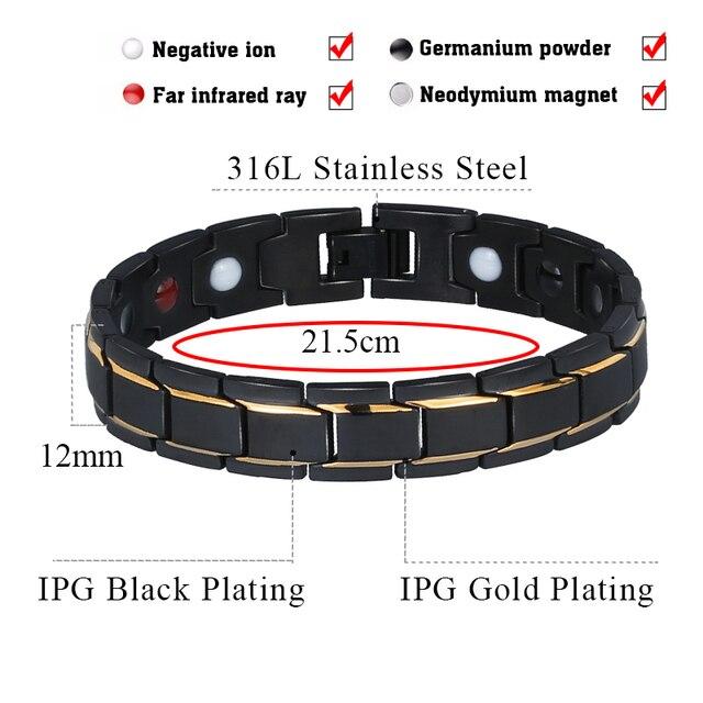 Black 316L Stainless Steel Men's Magnetic Health Bracelets & Bangles 1