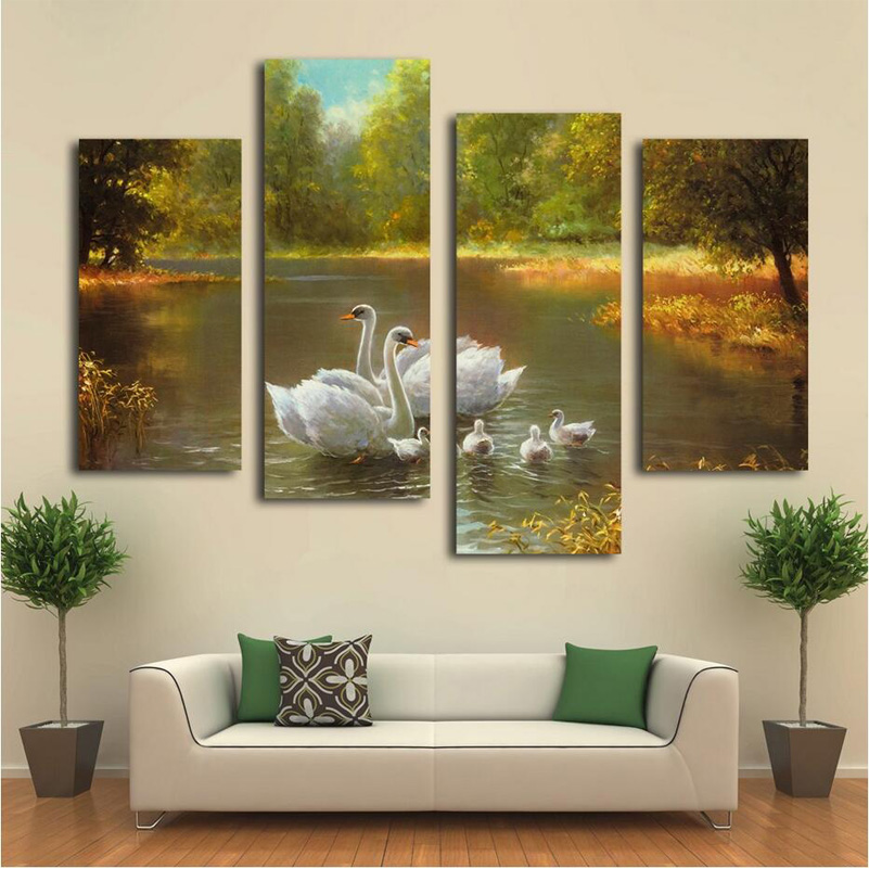 4 Pieces Beautiful Green Forest Swan Lake Landscape Oil
