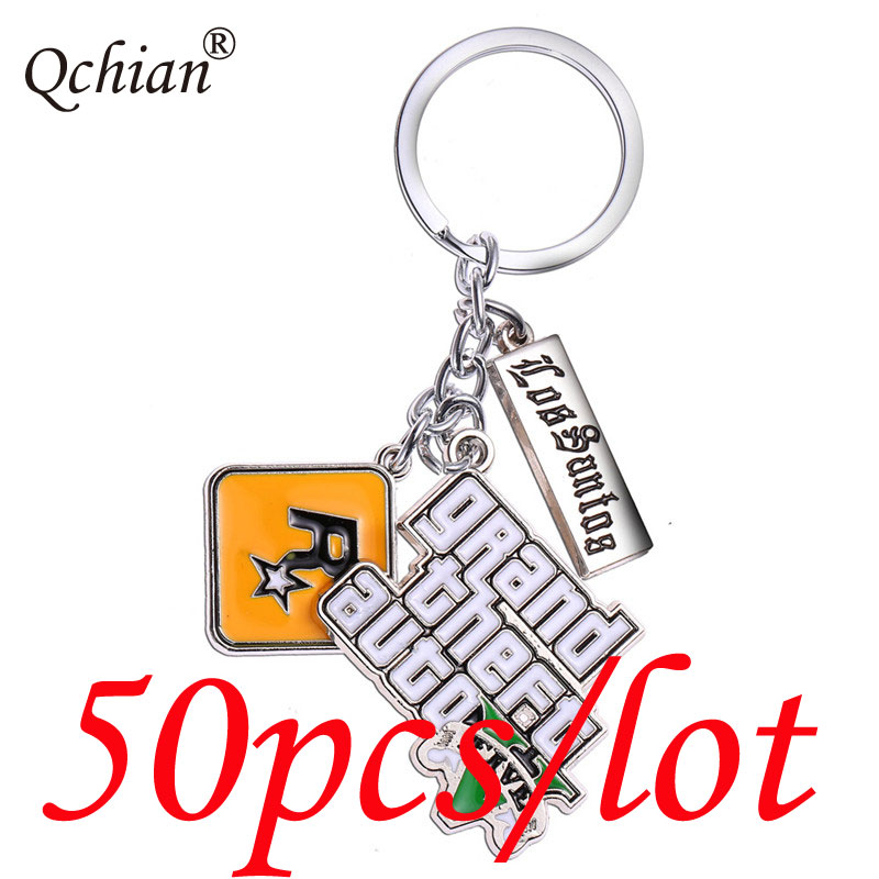 50pcs/lot PS4 GTA 5 Game keychain for Men Grand Theft Auto 5 Key Chain for Fans Xbox PC Rockstar Key Ring Holder Jewelry Llavero