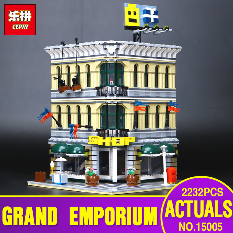 LEPIN 15005 2232pcs City Grand Emporium Model Building Blocks Kits Brick Educational Toy Compatible With 10211 Children Gifts lepin 02012 city deepwater exploration vessel 60095 building blocks policeman toys children compatible with lego gift kid sets