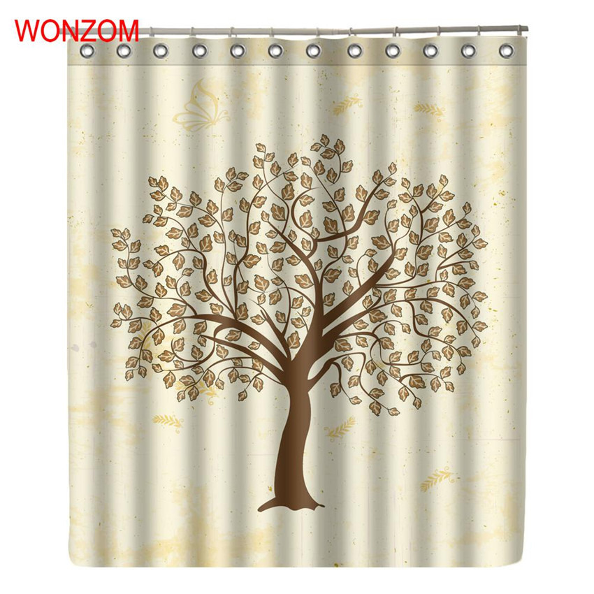 WONZOM Tree Waterproof Shower Curtain Bathroom Decor Polyester Fabric Decoration Cortina De Bano 2017 Bath Curtain Gift