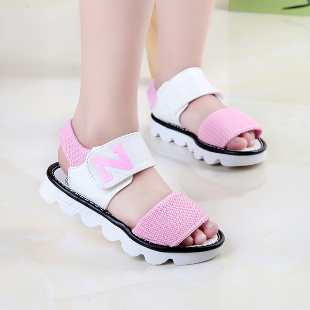 CN 27-37 black pink yellow 2018 fashion brand designer summer new Korean letter N girls sandals baby kids princess shoes