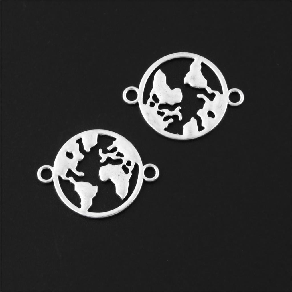 30Pcs Silver Color World Map Charms Earth Connector Earth Pendant Making Earring Bracelet Jewelry Accessories 17x23mm A3150