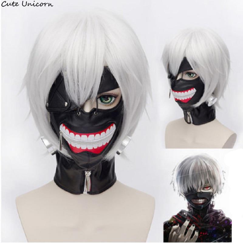 Cartoon Tokyo Ghoul black white Mask Kaneki Ken Wig Cos accessories Adjustable Zipper Masks PU Leather anime wigs Cosplay Masks