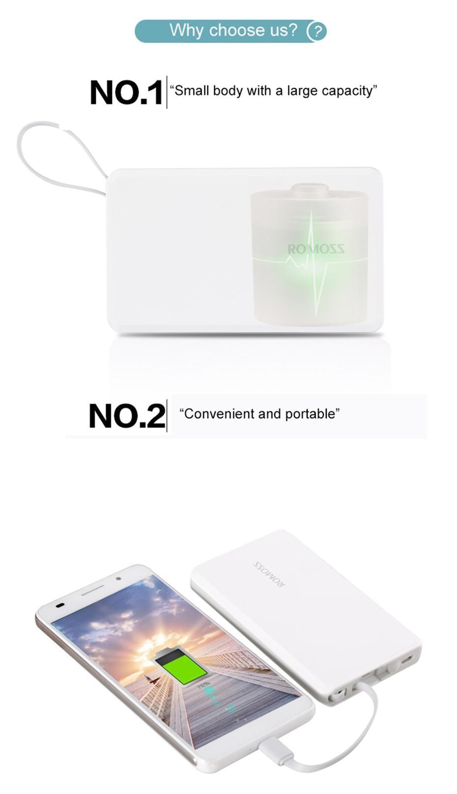 ROMOSS QS05 5000mAh Power Bank Pocket-Size External Battery Pack 2